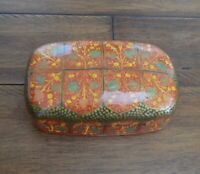 Trinket box hand painted lacquer paper Mache Kashmir India brand new style #005