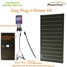 Plug-n-Power 30W 30 Watt Monocrystalline Solar Panel Charger Kit for 12v Battery