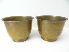 Vintage Pair Used Brass Metal China Chinese Export Flower Planters Plant Holder