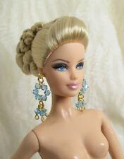 Handmade Sky Blue Swarovski Crystal Jewelry Earrings For Barbie Silkstone Doll