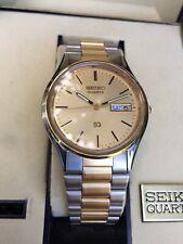 Vintage Seiko 5H23-7879 Day Date SQ Quartz  Watch W/ Box New Battery Engraved