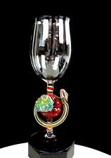 "MURANO ITALY ART GLASS SERPENT AND APPLE STEM BLUE TRIM 9 3/4"" GOBLET"