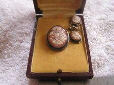Antique G. Mandile Silver   Carved Cameo  Earrings Set Original Box