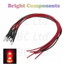 10x Flashing Pre-Wired Red LED 3mm Ultra Bright : 9V ~ 12V : 1st CLASS POST
