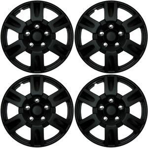 """4 Pc Set of 15"""" Matte Black Hub Caps Full Lug Skin Rim Cover for OEM Steel Wheel"""