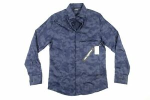 KARL LAGERFELD SMALL LM9W3068 CAMO MILITARY STRETCH BLUE BUTTON FRONT SHIRT NWT