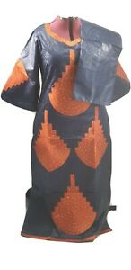 Women African Headtie Fashion Design Long Long Bazin Rich Embroidery Dress