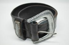 Joan And David Black Croco Embossed Leather Wide Belt Silver Tone Buckle M