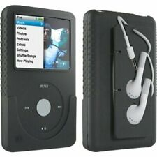 iPod Classic Black Silicone Case Scratch Slip Protection Secures Cord Earbuds