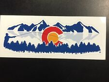 Colorado Fly Fishing Sticker Mountains