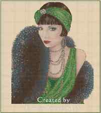 Counted Cross Stitch Art Deco Lady Green Dress/Black Stole COMPLETE KIT-No.1-18a