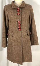 Soft Surroundings Womens Coat Brown Ivory Tweed  Lined Wool Blend Small