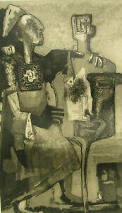 Att Albert Davila Zavala Modernist Husband & Wife Large Old Aquatint Etching NR