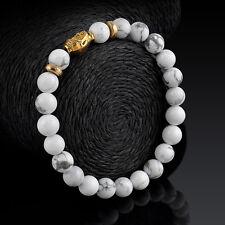 White Turquoise Beaded Tibet Gold Buddha Lucky Elastic Mens Lucky Bracelet Gift