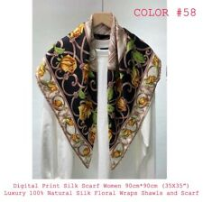 100% Pure Mulberry Silk Women Large  Scarf Shawl Animal Print Style 35'' X 35''