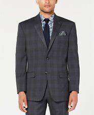 Sean John Classic-Fit Stretch Gray/Blue Plaid Suit Jacket Mens 44S 44 $360