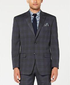 $360 Sean John Classic-Fit Stretch Gray/Blue Plaid Suit Jacket Mens 46L 46 NEW