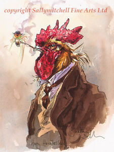 Farmyard poultry, chicken limited edition print by J. Walker. Harry Hardboiled