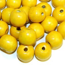 W752p Yellow 20mm Semi- Round Large Wood Beads 100-Grams