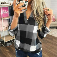 Plus Size Womens Casual Plaid Shirt V Neck Tops Long sleeve Blouse Summer Tops