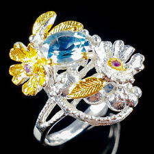 Hanmade Ring Natural Blue Topaz 925 Sterling Silver Ring Size 8.75/R114050