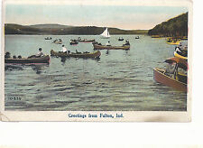 Canoes On The Lake Greetings From Fulton IN  Mailed 1924 Postcard 733