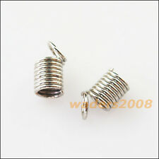 50 New Dull Silver Plated Connectors Coil End Crimp Necklace Fastener 5x7mm