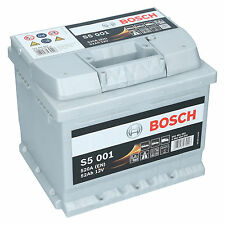 Bosch S5 001 12V 52Ah 520 A EN Autobatterie Starterbatterie ersetzt 50Ah 60Ah