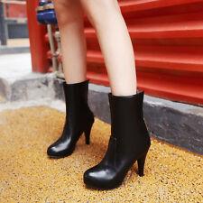 Women's Ladies Zip High Heel Comfortable Mid Calf Boots Shoes AU Size 2- 13 B03