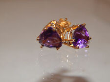 Large 5.0  Natural Deep Purple Amethyst Stud Earrings 14k Yellow Gold Gorgeous