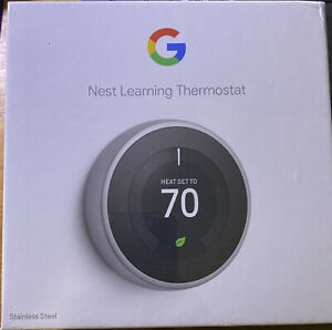 Google Nest Learning Smart Wifi Thermostat 3rd Gen in Stainless Steel T3007ES