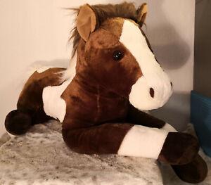 Aurora Pferd braun weiß liegend 70 cm Wie Neu Plüschtier Pony Horse Plüschtier