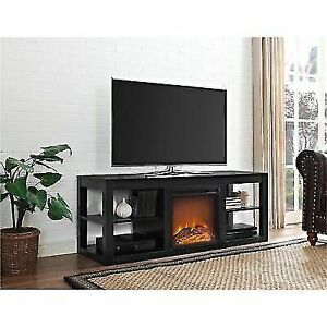 """Ameriwood Parsons Electric Fireplace TV Stand for TVs up to 65"""" - Black"""