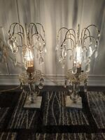 Pair of Antique Hollywood Regency Crystal Boudoir Lamps Marble 1940s Waterfall