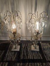Pair of Antique Hollywood Regency Crystal Boudoir Lamps Marble 1940s Waterfall