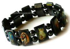 Black Magnetic Hematite Rosary Religious Bracelet Cuff