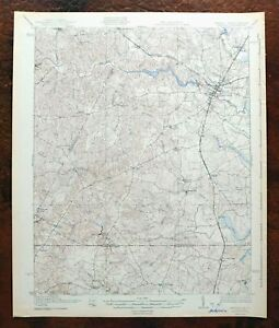 1943 Emporia Virginia Vintage USGS War Department Topo Map Skippers Gaston