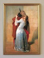 Der Kuss von Francesco Hayez Venedig um 1859 Büttenfaksimile Rxz 5 im Goldrahmen