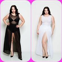 Plus Size Sheer Sleeveless Bodysuit Chiffon Front Slit Skirt Maxi Dress 1X 2X 3X