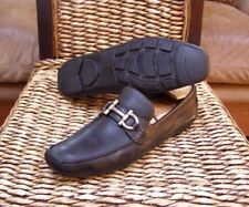 Salvatore Ferragamo Black Leather Gancini Buckle Driving Loafers Size 10.5 D -US