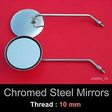 Kawasaki Eliminator 125 250 600 Voyager1300 10mm Chrome Steel Metal Mirror Round