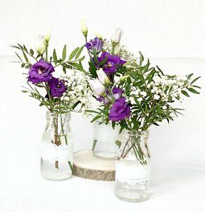3 Süße Mini Vasen mit Spitzen-Band Glas-Milchflaschen - prima für Hochzeiten