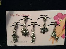 Clip on Charms - x5 Flowers - (Rose, Flower, Easter Lily, Bear with Flower)