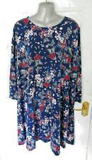 ❤ TU WOMAN Size 22 Navy Blue Pink Butterfly Stretchy Shift Dress T-Shirt Feel