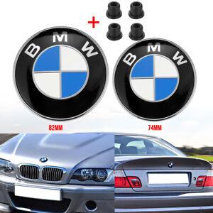 Für BMW 74MM + 82MM Kofferraum Motorhaube Kofferraum Emblem + 4X Gummitüllen