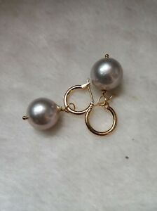 Gorgeous AAA+ 15-14mm real natural south sea gray ROUND pearl earrings 14k