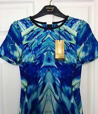 M&S Marks 8 £89 PerUna Speziale Luxe Blue OceanicPrint Stretch Midi Dress BNWT
