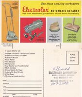 1960's ELECTROLUX AUTOMATIC CLEANER UNUSED ADVERTISING COLOUR POSTCARD