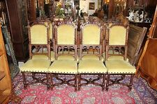 Set Of 8 French Antique Walnut Wood Gothic Upholstered Dining Chairs Living  Room