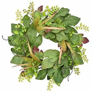 Spring Green Wreath for Front Door, Artificial 22-24 Inch Summer Fig Leaves1